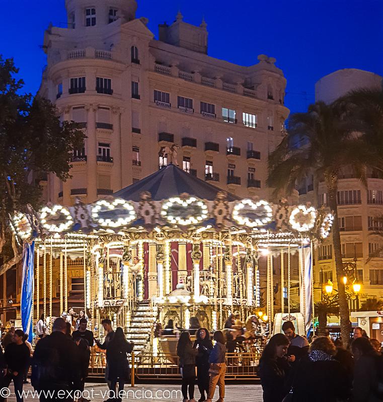 Le carrousel de la Plaza del Ayuntamiento de Valence (Espagne)