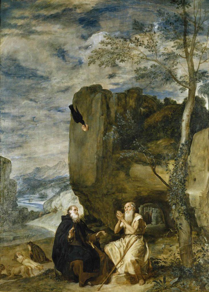 Tableau du peintre Velázques représentant Saint Antoine Abbé