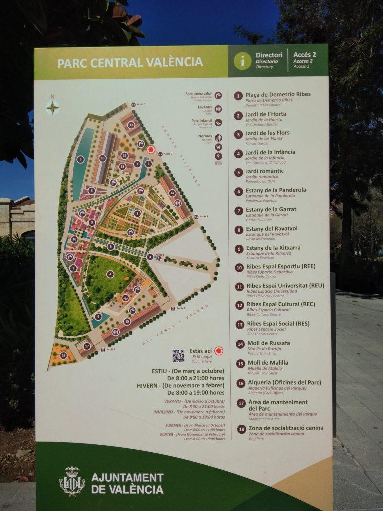 Plan du Parc Central de Valence (Espagne)