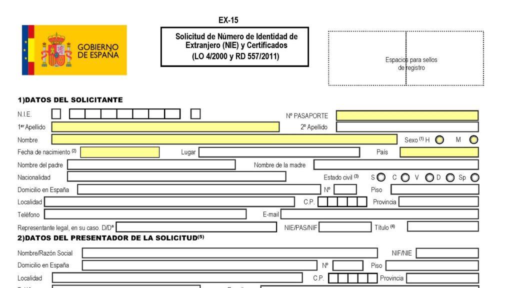 Première section du formulaire EX15 pour obtenir le NIE.